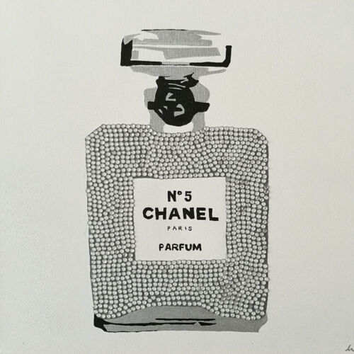 CANVAS Chanel Silver Sparkle Urban Chic Gallery Wrapped Art by Pop Art Queen