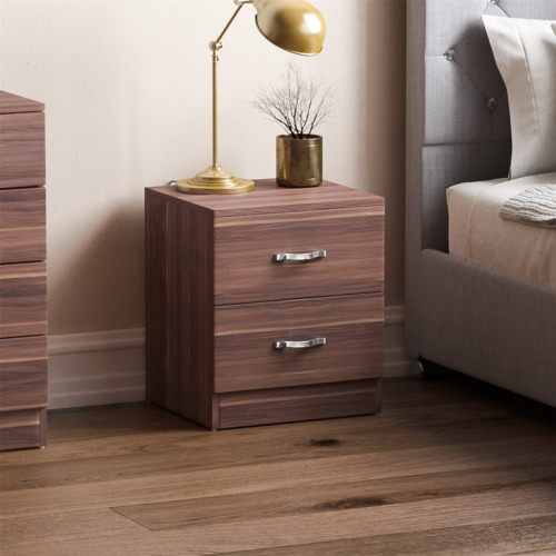 Riano Bedside Cabinet Walnut 2 Drawer Metal Handles Runners Bedroom Furniture <br/> ORDER BY 2PM FOR NEXT DAY DELIVERY-CHEAPEST ON EBAY