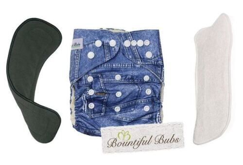 Deluxe Bamboo Cloth Nappy, Denim - 2 Boosters - 4 & 6 Layers