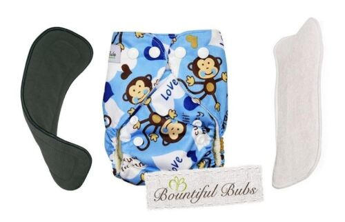 Deluxe Newborn Bamboo Cloth Nappy-Monkey - 2 Boosters. A 4 & 6 Layers