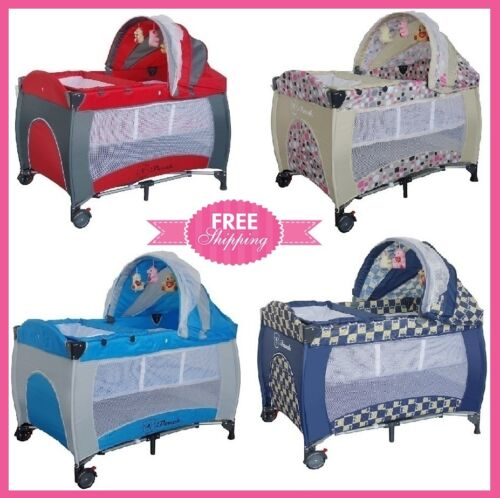 New All in 1 Deluxe Baby Portable Travel Cot Portacot Playpen Crib Bed Bassinet <br/> Extra 5% OFF,Use code PICK5, 3Y Warranty AU Standard