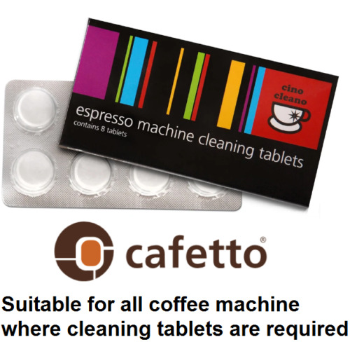 CAFETTO CINO CLEANO CLEANING TABLETS Espresso Coffee Machine Cleaner 8 Tablet