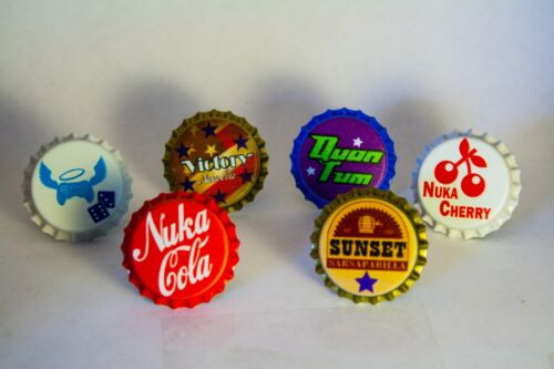 Set of Various Nuka Cola Caps-Cola, Sunset, Quantum, Cherry, Victory, Extra Life