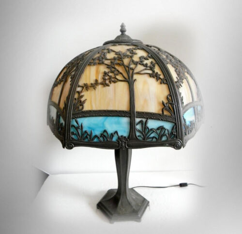 Large bent slag glass shade table lamp with two color glass shade FREE SHIPPING