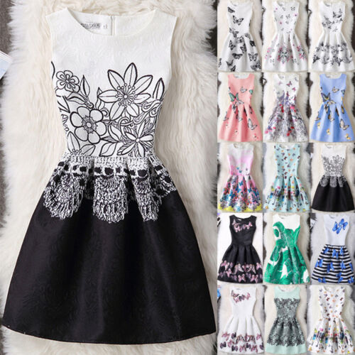 Parent Child Outfit Mother Daughter Womens Girls Print Casual Party Dress US