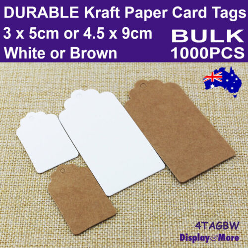 Paper TAG Kraft Price Label Card   200pcs   BLANK White or Brown   SYDNEY Stock