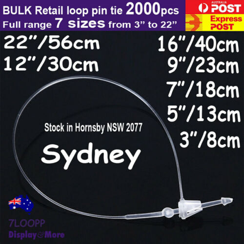 Loop PIN Tie Snap LOCK Tagging-Clear   1000pcs   for RETAIL Tags   AUSSIE Seller
