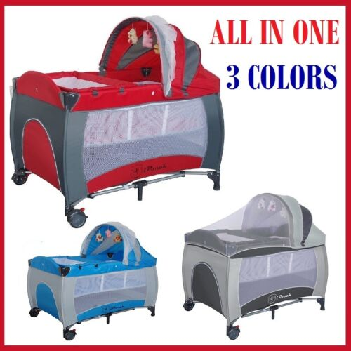 New All in 1 Deluxe Baby Travel Cot Portacot Playpen Crib Bed Bassinet - 3 color