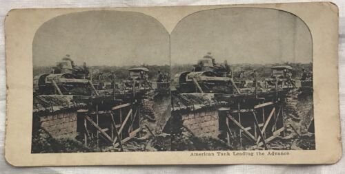 WWI Stereoview American Tank Leading The Advance Tanks War Soldiers
