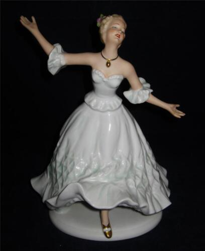 Large Wallendorf Porcelain Figurine, Woman Dancing, Pale Green, #1497, 9 1/4&quot;<br/>Figurines - 63526