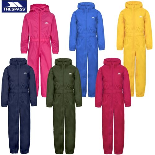 TRESPASS BUTTON SUIT WATERPROOF PUDDLE ALL IN ONE RAINSUIT BOYS GIRLS KIDS CHILD <br/> Navy, Blue, Pink &amp; Red - Age 1-8 Yrs - Fast &amp; Free P&amp;P!