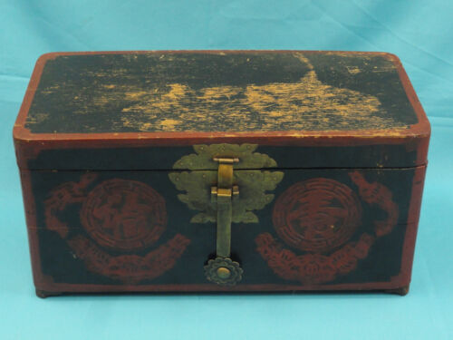 ELABORATE ANTIQUE LATE 19 c LACQUER CHINESE WOOD TRUNK CHEST<br/>1800-1899 - 66842
