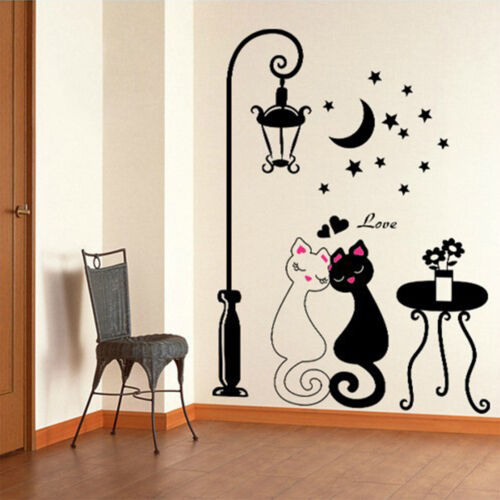 DIY Cute Black Couple Cat Wall Decal Stickers Home Decor Living Room Art Mural
