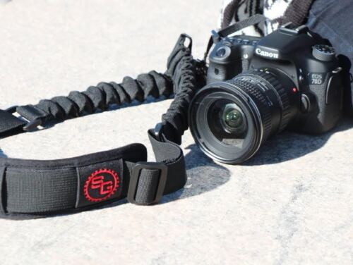 BOOMR Bungee Camera Strap by StatGear - BLACK/ RED LOGO  fits Canon, Nikon, Sony