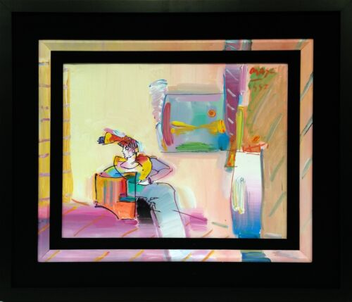 PETER MAX &quot;LIVING ROOM (WOMAN)&quot; | ORIGINAL ON CANVAS | 22 X 26&quot; | PAINTED FILLET <br/> 50% OFF! RETAIL $17K - FRAMED - VIEW ARTWORK LIVE