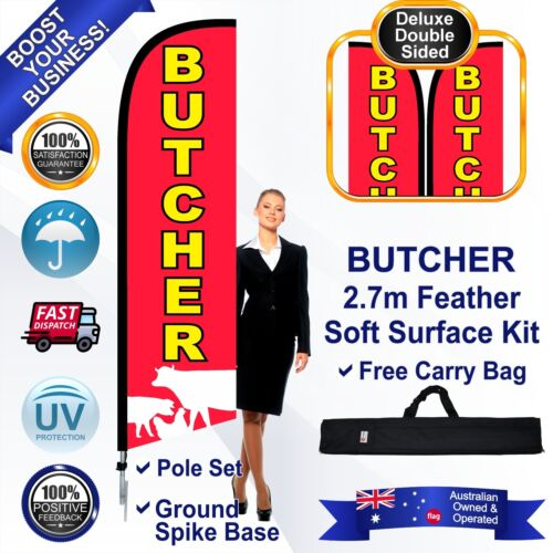 BUTCHER 2.7m Premium Feather Flag/Banner Kit with Spike *Striker *High Quality