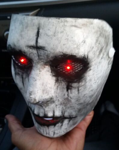 The Purge Anarchy Custom Painted Mask with Light up RED LED Eyes Halloween