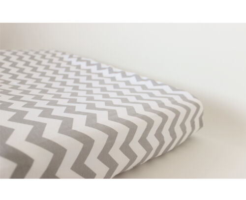 GOOSEBERRY Fitted Change Table Mat Pad Cover Cotton Chevron Grey