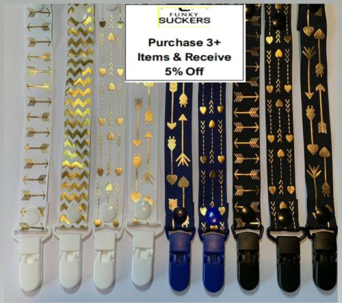 GOLD SPOTS / DOTS / ARROWS Dummy Clip / Dummy Clips / Pacifier Clips / Chain
