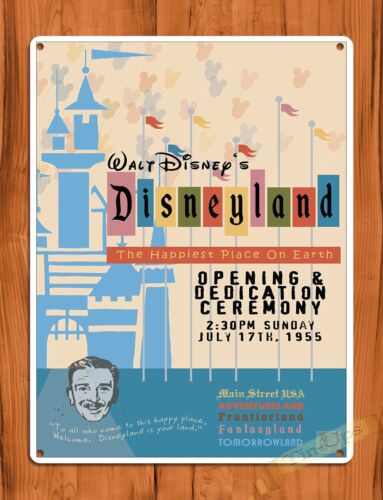 "TIN SIGN ""Disneyland Opening Day Dedication"" Walt Disney Ride Art Poster"