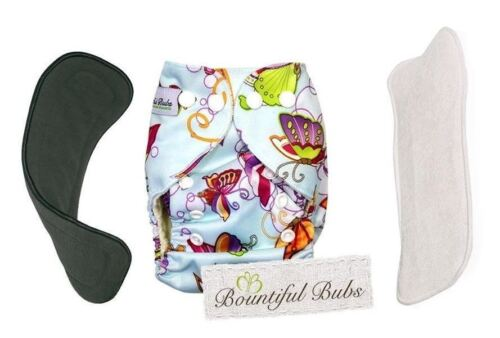 Deluxe Newborn Bamboo Cloth Nappy-Butterfly - 2 Boosters. A 4 & 6 Layers