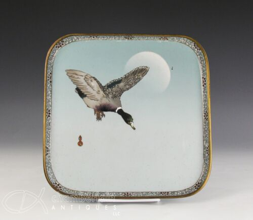 OLD ANTIQUE JAPANESE CLOISONNE TRAY WITH FLYING DUCK - NAMIKAWA SOSUKE <br/> No Reserve Auction of Asian Works of Art