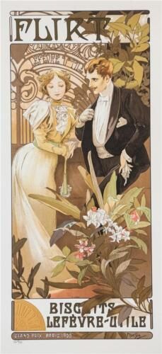 Alphonse Mucha Flirt Biscuits Limited Edition Lithograph S2 Art