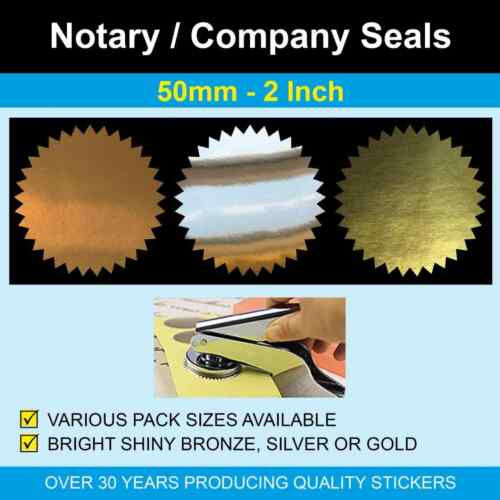 50mm (2 Inch) Notary Seals - Bronze, Silver & Gold