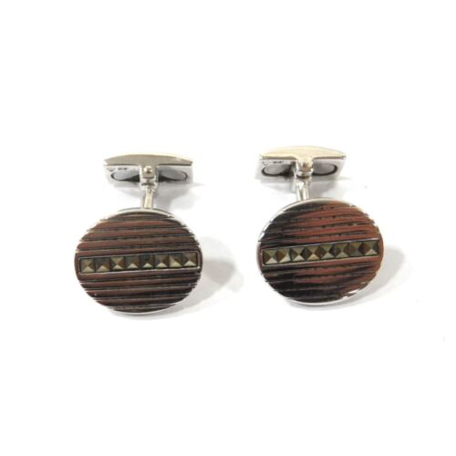 HOXTON Sterling Silver Marcasite Oval Cufflinks