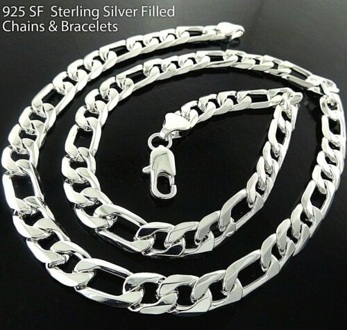 Necklaces Chain 925 Sterling Silver S/F Solid Curb Figaro Box Belcher Ball Link