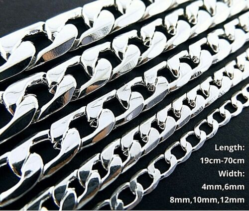 """Necklace Chain Real 925 Sterling Silver S/F Solid Men's Heavy Curb Design 8""""-28"""""""