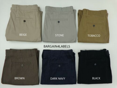 Mens Ex M&S Collection Chinos Pants Pure Cotton Adjustable Waist Regular Fit