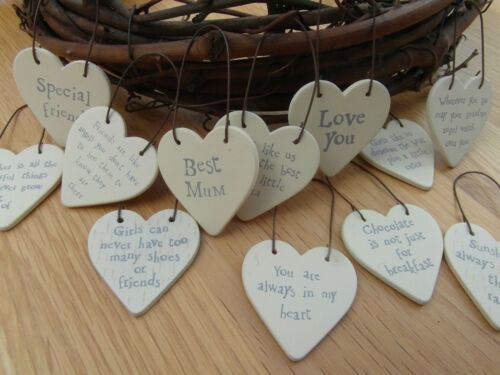 East of India Tiny Small Wood Heart Messages Gift Tags Signs Keepsakes 3cm x 3cm <br/> Free P&amp;P . Buy 3 get 1 FREE . PUT 4 in basket