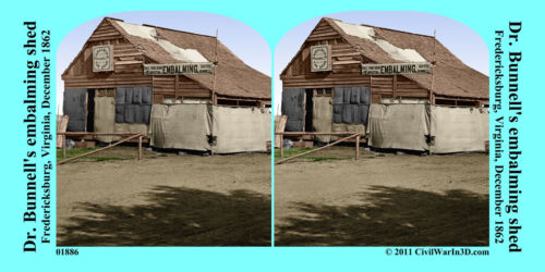Dr Bunnell's embalming shed Civil War SV Stereoview Stereocard 3D 01886