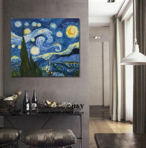 30x40x3cm Van Gogh Starry Night Giclee Canvas Print Wall Art Wall Decor Framed