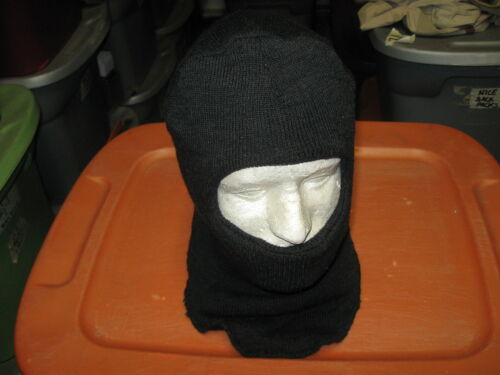 USGI MILITARY SURPLUS BLACK WOOL HOOD HAT MASK COLD WEATHER BALACLAVAHats & Helmets - 36068