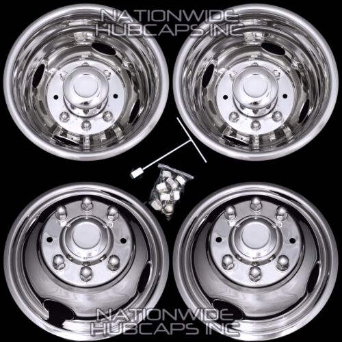 05-16 FORD F350 17&quot; Dually Stainless Steel Wheel Simulator Dual Rim Liner Skin s <br/> NEW SET OF 4 **FREE SHIPPING** BOLT-ON WHEEL SIMULATORS