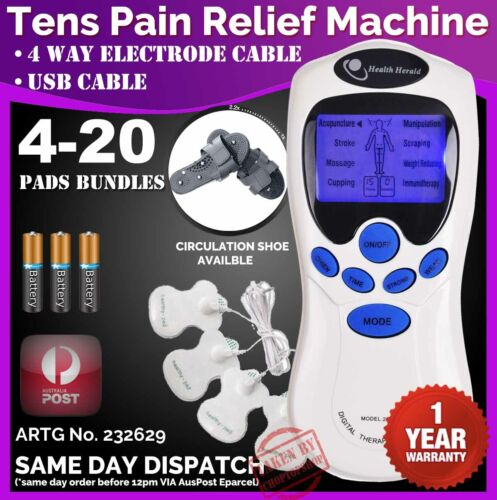 TENS Machine Unit Pain Relief Massager ACUPUNCTURE +Extra PADS BUNDLES Physio <br/> ✦XXXL PADS✦CIRCULATION SHOE✦AU USB Adapter✦1yr Warranty