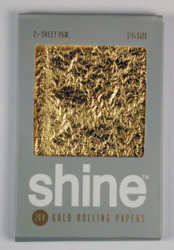 Shine 24K Gold Rolling Papers 2 Sheet Pack Free Shipping Authorized U.S. Dealer