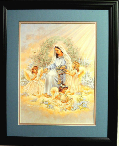 ANGEL CHILDREN PICTURE ANGEL GIRLS LADY DOVES MATTED FRAMED 16X20
