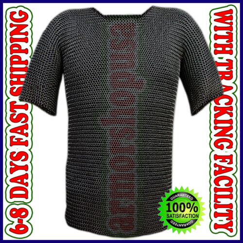 Medieval Chain Mail Hauberk Black Butted Chainmail Shirt Larp Sca Armor Costume Reenactment & Reproductions - 156374