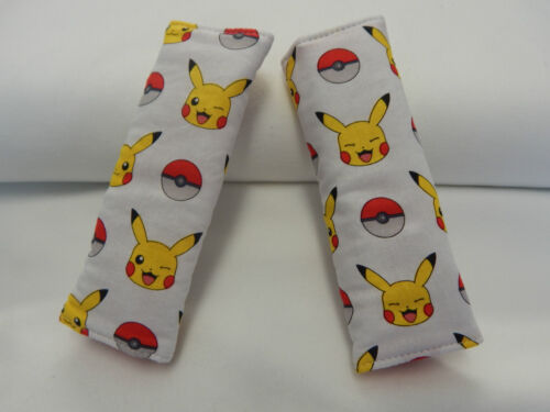 Baby Seat Belt Strap Covers Car Chair Stroller- Pokemon - Pikachu 100% Cotton