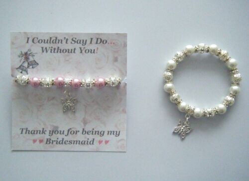 I COULDN'T SAY I DO WITHOUT YOU BUTTERFLY CHARM PEARL BRACELET WEDDING THANK YOU