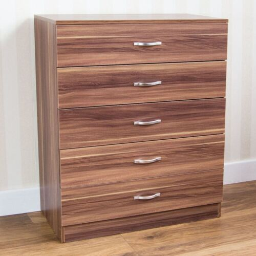 Riano Chest Of Drawers Walnut 5 Drawer Metal Handles Runners Bedroom Furniture <br/> ORDER BY 2PM FOR NEXT DAY DELIVERY-CHEAPEST ON EBAY
