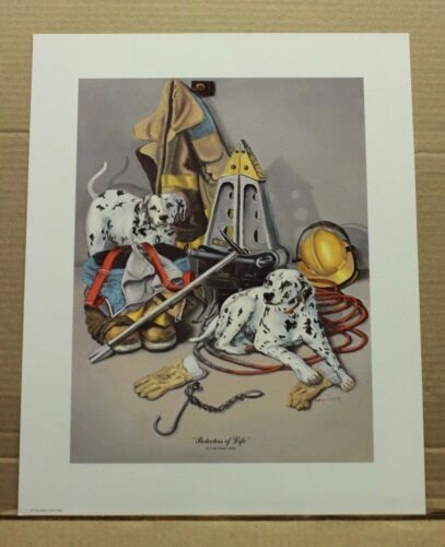 Protectors of Life by Kentucky artist Lola Joiner Fireman Occupational Dalmatian