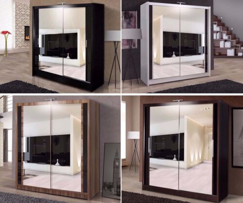 Double Mirror Sliding Door Chicago Wardrobe with LED Light 120/150/180/203cm <br/> Available White/Black/Wenge/Walnut - Read Delivery Info