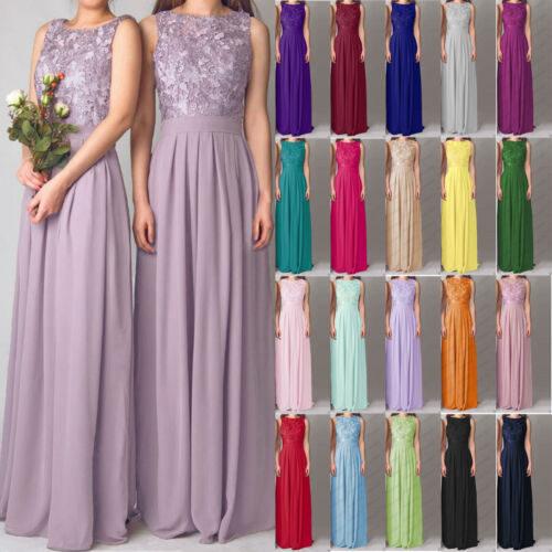 Lace/Long Formal Wedding Evening Ball Gown Party Prom Bridesmaid Dress Size 6-20