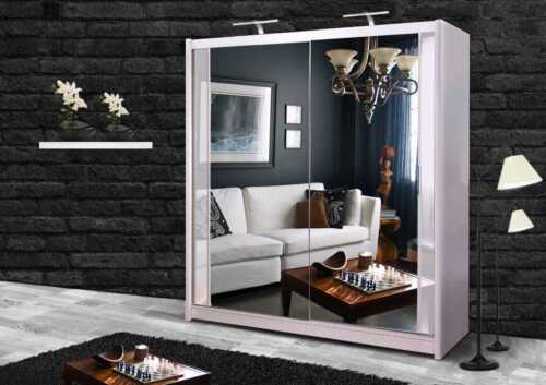 Sliding Door Double Mirror White Wardrobe with TWO LED Light - 5 SIZES <br/> READ DELIVERY INFO. PLEASE