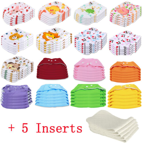 5 PCS+5 INSERTS Cloth Diapers lot Nappies Adjustable Reusable For Baby Newborn <br/> 🔥USA Seller 🔥 Free Same Day Shipping With Tracking#🔥