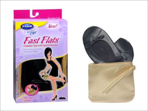 Dr Scholls FAST FLATS Foldable Ballet Flats &amp; Gold Wristlet Bag NEW ALL SIZES <br/> Sizes 5-6 | 7-8 | 9-10 * LOWEST PRICE ON EBAY* FREE S&amp;H